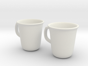 Coffee Tea cup mug set 1/6 miniature in White Natural Versatile Plastic