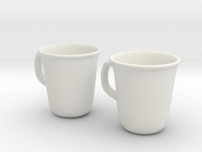 Coffee Tea cup mug set 1/6 miniature in White Strong & Flexible