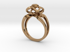 3-2 Enneper Curve Twin Ring (003) in Polished Brass