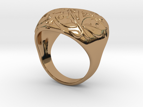 Heart Ring in Polished Brass