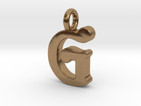 G - Pendant - 2mm thk. in Natural Brass