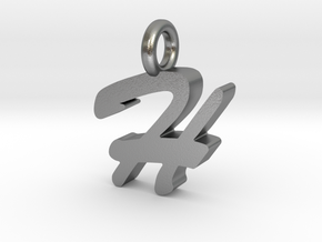 H - Pendant - 2mm thk. in Natural Silver