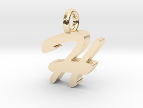 H - Pendant - 2mm thk. in 14k Gold Plated Brass