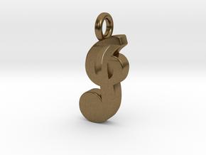 J - Pendant - 2mm thk. in Natural Bronze