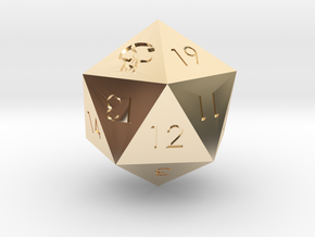 D20 Black Mana Symbol (MTG) in 14k Gold Plated Brass: Extra Small