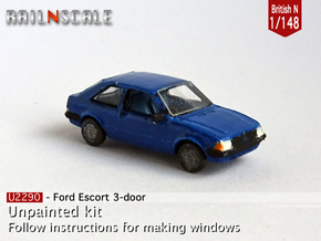 Ford Escort 3-door (British N 1:148) in Smooth Fine Detail Plastic