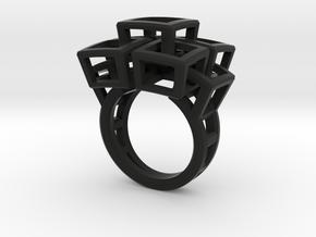 Kubusring-2 / Cubesring-2 layers in Black Natural Versatile Plastic: 6.5 / 52.75