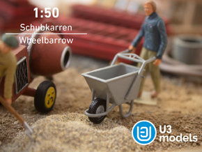 1:50 Schubkarren / Wheelbarrow / Carretilla in Smooth Fine Detail Plastic