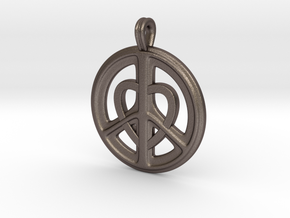04-PEACE/HEART cross section in Polished Bronzed Silver Steel: Small