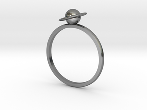 Planet Saturn Ring  in Fine Detail Polished Silver