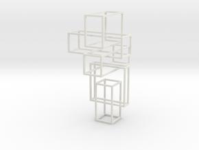 Random Cube Necklace in White Natural Versatile Plastic