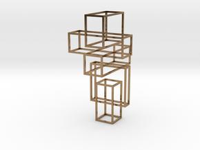 Random Cube Necklace in Natural Brass (Interlocking Parts)