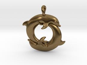 Piscean / Yin Yang Dolphin Totem Pendant 4.5cm in Natural Bronze