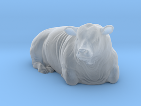 1/64 Lying Polled Bull Right Turn in Smooth Fine Detail Plastic