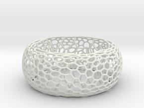 Honeycomb Bangle in White Natural Versatile Plastic: Large