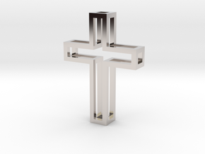 Silhouette Cross Pendant in Rhodium Plated Brass