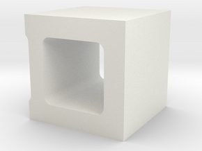 1/10 Scale Concrete 1/2 Block in White Natural Versatile Plastic