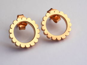 Ingranaggi - Stud Earrings in 18k Gold Plated Brass