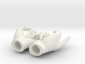 British insult hands in 1:6 scale in White Natural Versatile Plastic