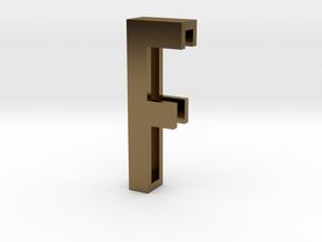 Choker Slide Letters (4cm) - Letter F in Polished Bronze