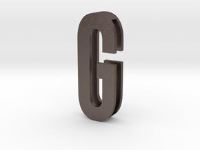 Choker Slide Letters (4cm) - Letter G in Polished Bronzed Silver Steel