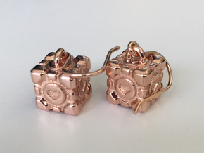 Portal Companion Cube Earrings in 14k Rose Gold Plated