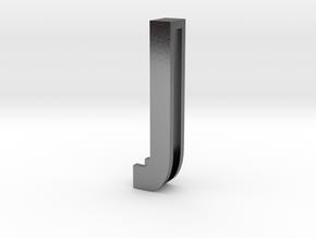 Choker Slide Letters (4cm) - Letter J in Polished Silver