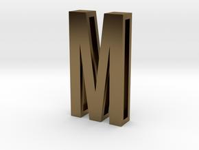 Choker Slide Letters (4cm) - Letter M in Polished Bronze