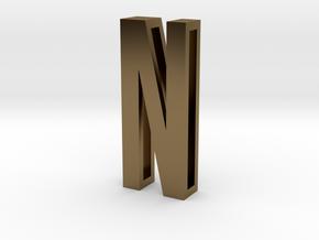 Choker Slide Letters (4cm) - Letter N in Polished Bronze