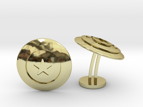 Captain America Shield Wedding Cufflinks in 18k Gold Plated Brass