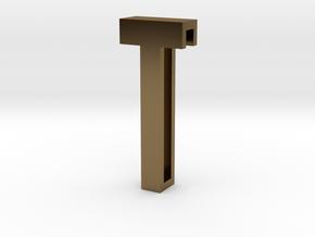 Choker Slide Letters (4cm) - Letter T in Polished Bronze