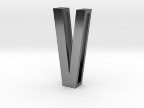 Choker Slide Letters (4cm) - Letter V in Polished Silver