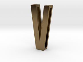 Choker Slide Letters (4cm) - Letter V in Polished Bronze
