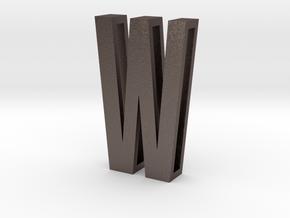Choker Slide Letters (4cm) - Letter W in Polished Bronzed Silver Steel