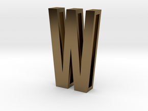 Choker Slide Letters (4cm) - Letter W in Polished Bronze