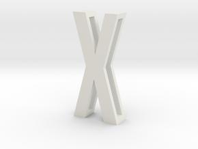 Choker Slide Letters (4cm) - Letter X in White Natural Versatile Plastic