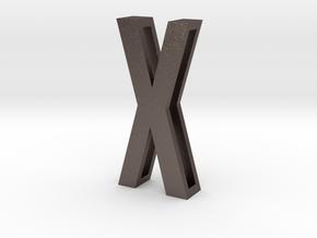 Choker Slide Letters (4cm) - Letter X in Polished Bronzed Silver Steel