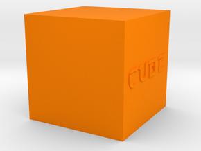 Cube in Orange Processed Versatile Plastic