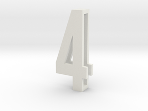Choker Slide Letters (4cm) - Number 4 in White Natural Versatile Plastic