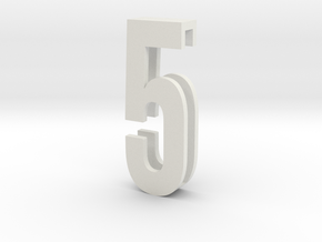 Choker Slide Letters (4cm) - Number 5 in White Natural Versatile Plastic