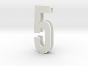 Choker Slide Letters (4cm) - Number 5 in White Strong & Flexible