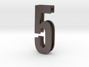 Choker Slide Letters (4cm) - Number 5 in Polished Bronzed Silver Steel