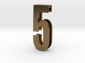 Choker Slide Letters (4cm) - Number 5 in Natural Bronze