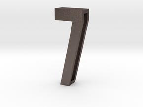 Choker Slide Letters (4cm) - Number 7 in Polished Bronzed Silver Steel