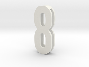 Choker Slide Letters (4cm) -Number  8 in White Strong & Flexible