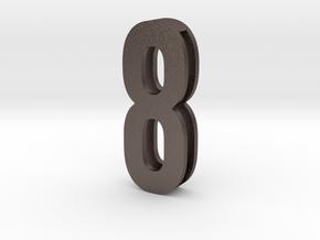 Choker Slide Letters (4cm) -Number  8 in Polished Bronzed Silver Steel