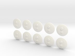 bX Minifig Base (Round) / 10 pieces in White Strong & Flexible Polished
