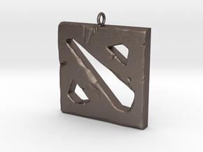 DOTA 2 Polygonal Logo Pendant Keychain Necklace in Polished Bronzed Silver Steel