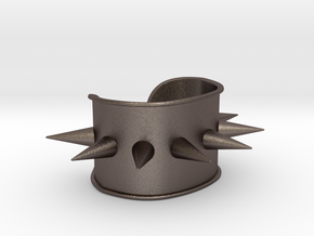 """Spiked Cuff - Bent (for wrists 2.25""""Wx1.5""""H) in Polished Bronzed Silver Steel"""