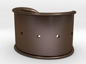 Cosplay Cuff Base (with holes for screw-back spike in Polished Bronze Steel: Small